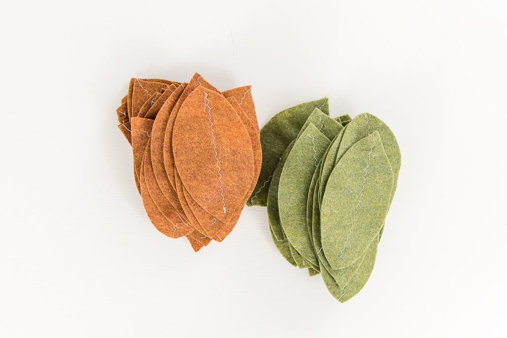 felt leaves green and tan with stitch down the center