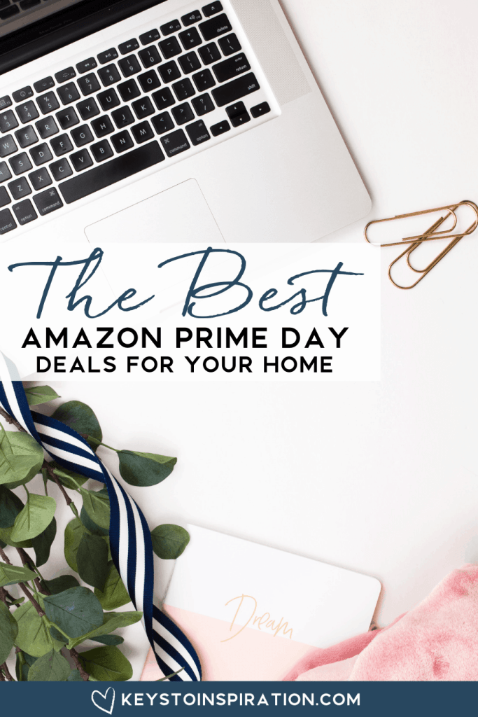 laptop on a styled desk with office supplies amazon prime day