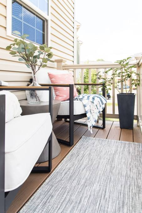 outdoor furniture modern on porch townhome rug chairs and table