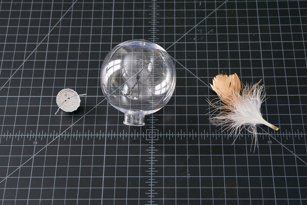 clear ornament with gold-dipped feather