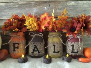 Fall leaves in mason jars.
