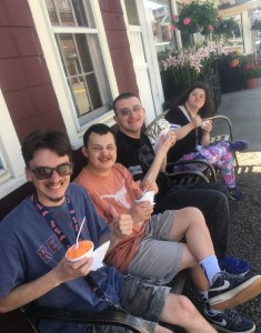 Students enjoying ice cream.