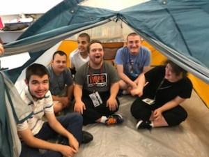 Camping at summer school.