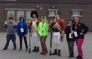 Students meet a regiment reenactment group.