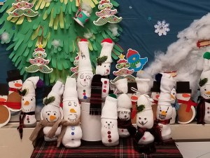 Socks made into snowmen.
