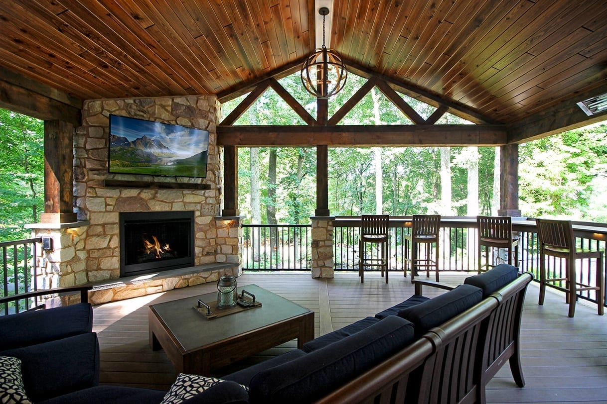 Covered Back Porch Ideas & Designs | Chester & Lancaster ... on Enclosed Back Deck Ideas id=96973