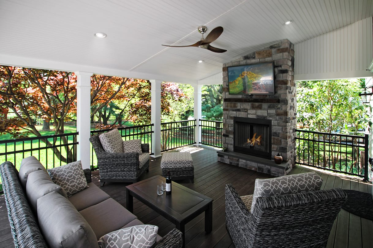 Covered Back Porch Ideas & Designs | Chester & Lancaster ... on Covered Back Deck Designs id=54884