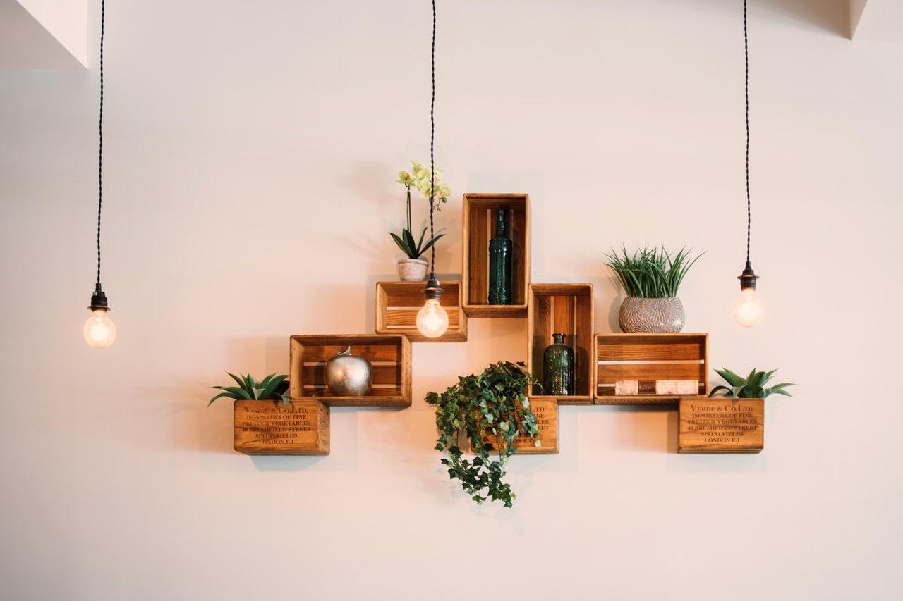 wall ornaments and light bulbs