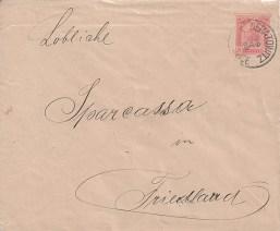 Rakouská poštovní celina (obálka s natištěnou poštovní známkou) s prvním neratovickým poštovním razítkem z 29. března 1899 poslaná do Frýdlantu v Čechách.