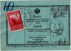 Telefonní karta – poštovní formulář s vylepenou výplatní poštovní známkou 60h; voláno z pošty Roudnice nad Labem do Ústí nad Labem 6.května 1916.
