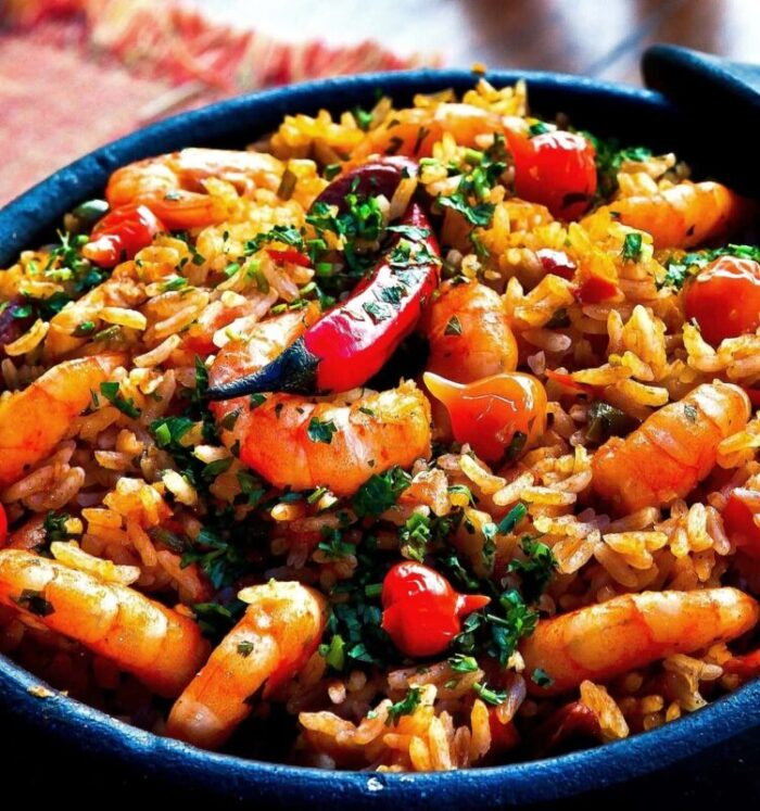 Pressure cooked shrimp fried rice
