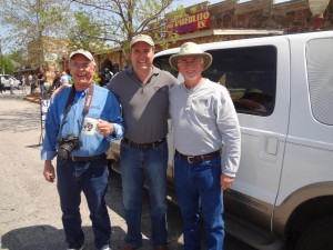 Rusty Frazier owner of Stone County Leader, Bob Connell owner of KFFB, Grady Spann with Arkansas State Parks take time for a Picture
