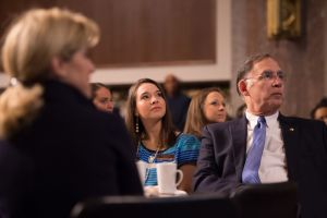 (Pictured: Senator John Boozman and Arkansas 4-H'er Lauren Leonard of Benton County listen to speeches on the impact of 4-H at the National 4-H Congressional Breakfast on April 13, 2016.)