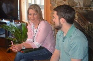 Leadership participants Amanda Crider (Citizens Bank) (left) and Landon Downing (Lyon College) (right) share personal experiences during the Leadership Batesville retreat ice breaker session.