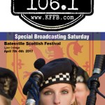 Join KFFB 106.1 on Location at the Scottish Festival at Lyon College in Batesville Saturday, April 8