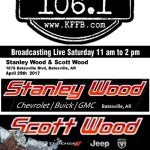 Join the Timeless 106.1 KFFB Road Gang this Saturday at Stanley Wood Chevrolet and Scott Wood Chrysler