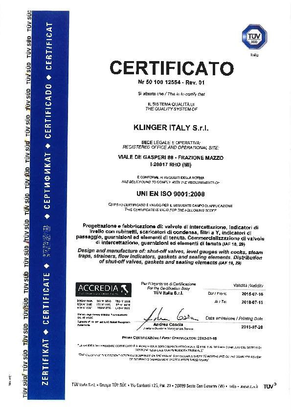 Certifications Usine Klinger<sup>®</sup> Italie