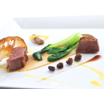 Australian-lamb-loin-yougn-jackfruit-puree-sauteed-bok-choy-Rock-Spices-and-Cardamom-infused-demi-glace