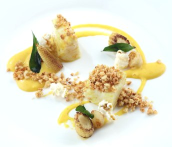 Confied-Coral-Trout-Smoked-Corn-Puree-Baby-Corn-and-Aromatic-Ginger