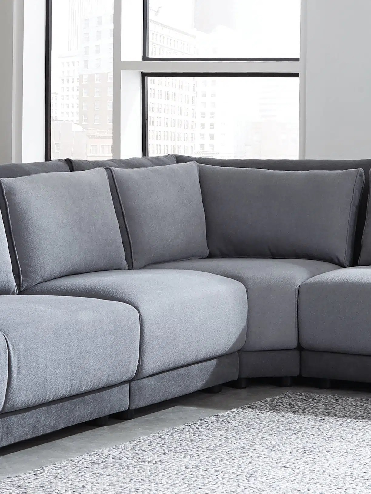 seanna grey chenille modular sectional sofa