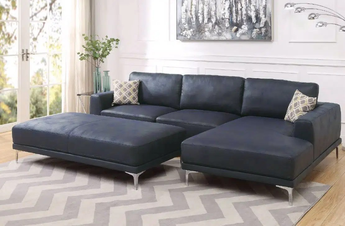 juniper modern leather sectional ottoman
