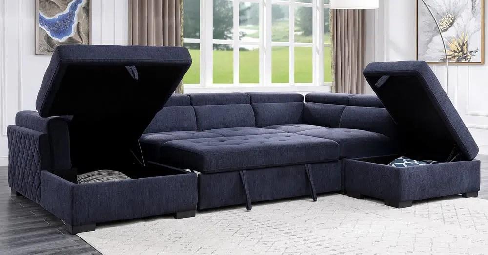 nekoda navy blue sectional sofa