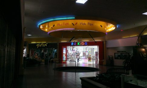 Play Pen. The store behind it was pretty much lighting the entire concourse.