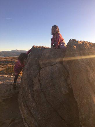 Bouldering practice on a boulder