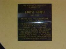 Yaotse memorial plaque