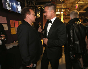 Brad-Pitt-Bono-talked-backstage-before-U2-performed-300x236