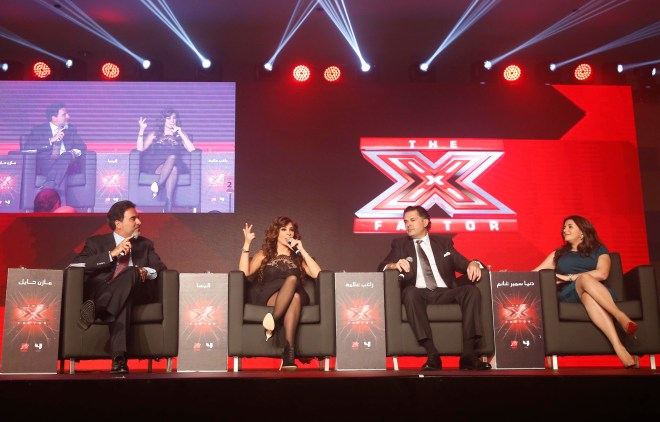 (2) MBC4 & MBC MASR - The X Factor Launch Press Conference- Mazen Hayek & Jury Members Elissa & Ragheb & Donia