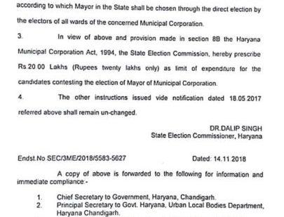 अब नगर निगम के मेयर के उम्मीदवार चुनाव में 20 लाख रुपये तक व्यय कर सकते हैं….