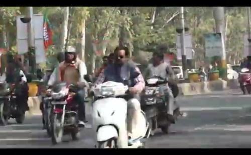 कवि नगर रामलीला ग्राउंड से शुरु हुई बीजेपी की बाइक रैली