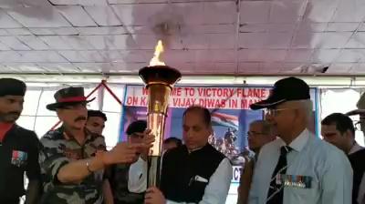 राष्ट्रीय यु़द्ध स्मारक दिल्ली से आरंभ हुई 'विजय मशाल' यात्रा का मंडी में सीएम ने किया भव्य स्वागत