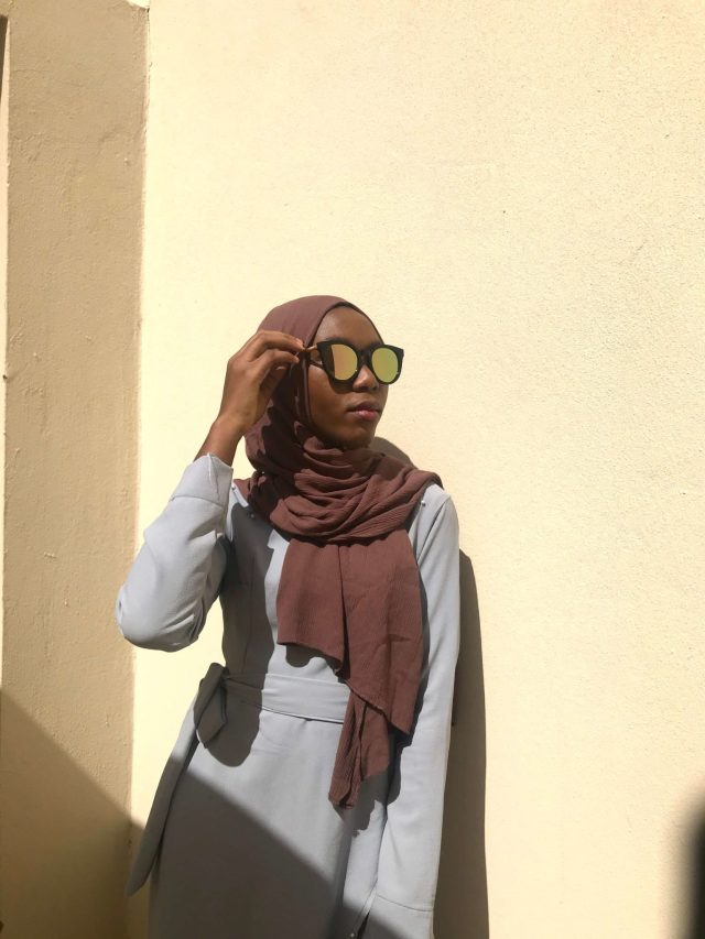 Muslim Modest Fashion Hack One Grey Wrap Dress Five Ways brown premium rayon scarf blogpost khairahscorner side view