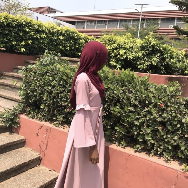 modest muslim fashion maxi dress belt sleeve details custom opera mauve taupe belt blood red premium rayon scarf styling veiled collection blogpost khairahscorner sleeve view