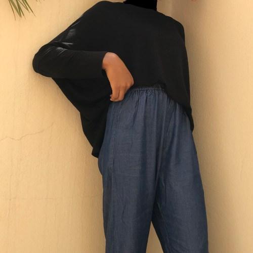 lightweight denim maxi palazzo pants trend blogpost khairahscorner band waist