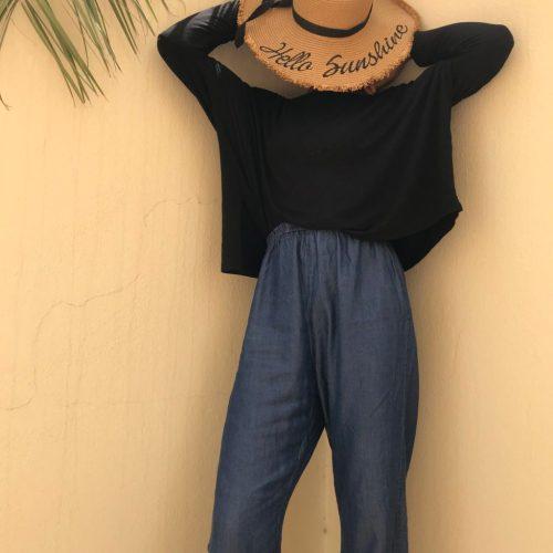lightweight denim maxi palazzo pants trend blogpost khairahscorner beach straw woven hat
