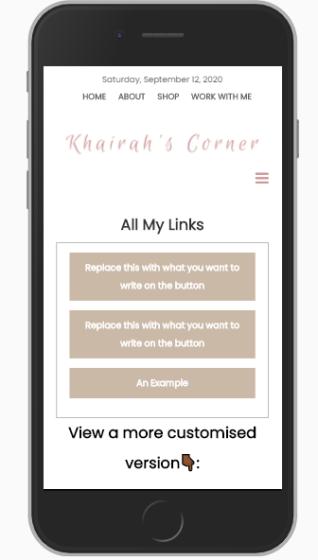 custom instagram bio links stop using linktree milkshake blog website blogpost khairahscorner basic mobile