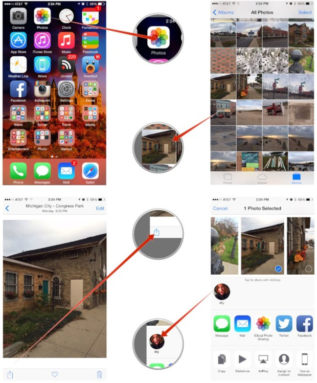 How to use Airdrop for sharing files from iPads or iPhone