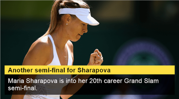 Another Wimbledon Semi Final for Maria Sharapova