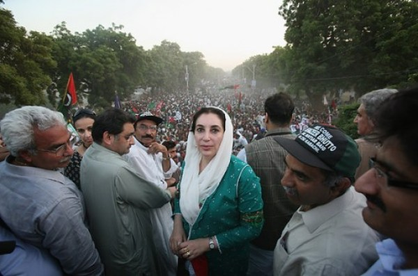 Crowds gathered to see Bhutto speak
