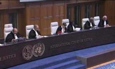Judge Ronny Abraham (left), President of the ICJ, delivers the verdict in the Kulbhushan Jadhav case as other judges look on, at the Peace Palace in The Hague on Thursday.