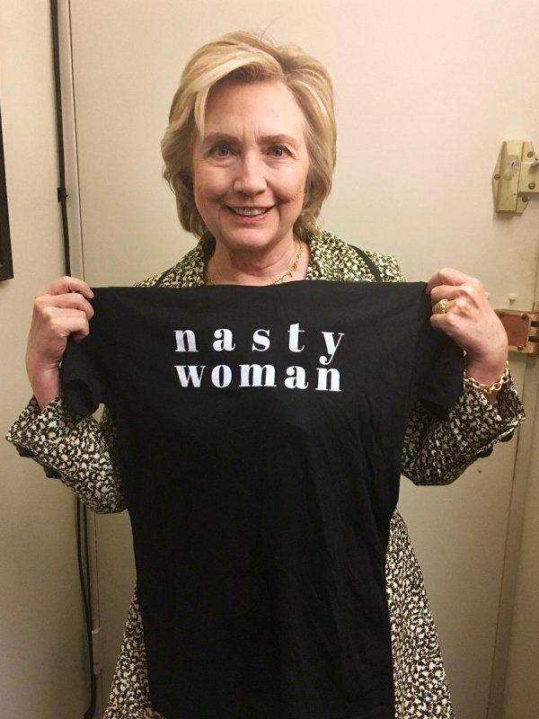Hillary Clinton Models 'Nasty Woman' Shirt