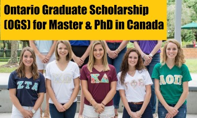 Ontario Graduate Scholarship (OGS) for Master & PhD in Canada