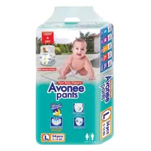 avonee maxi 4 baby diaper pants l (9-14kg) 34pcs