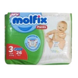 molfix baby diaper pants 3 midi (6-11kg) 26 pcs
