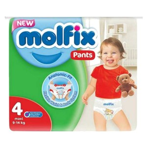 molfix baby diaper pants 4 maxi (9-14kg) 52pcs