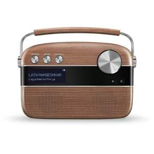 100% Original Saregama Carvaan Hindi 5000 Songs Portable Digital Music Player With Remote (Oak Wood Brown)-0