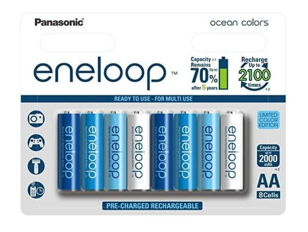 Panasonic Battery Eneloop Ocean BK-3MCCE/8SN Rechargable Battery - Pack of 8 (Multicolor-0